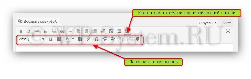 Редактор текста WordPress: функции